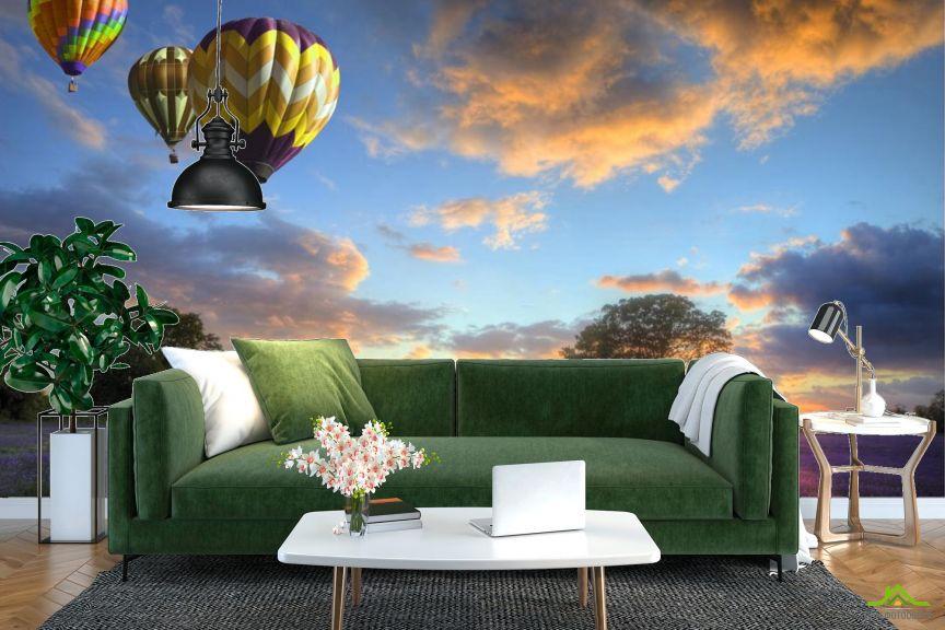 Фотообои три воздушных шара над полем
