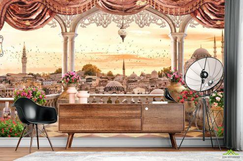 Фотообои Вид из окна по выгодной цене Фотообои Вид с балкона на Стамбул