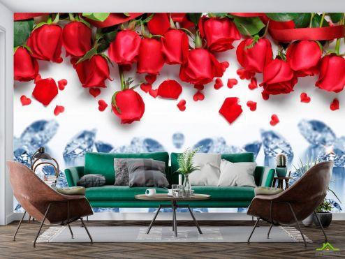 3D Фотообои Роза с алмазом купить