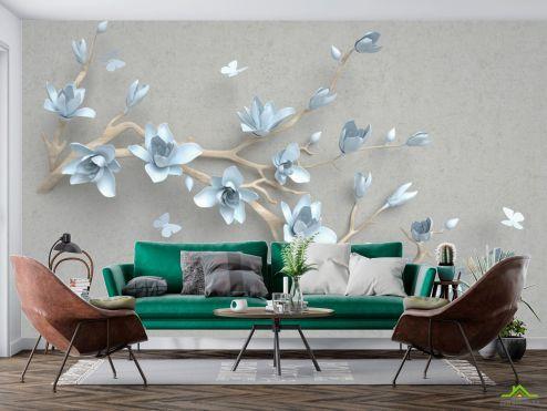 3Д барельеф Фотообои Ветка голубых цветов