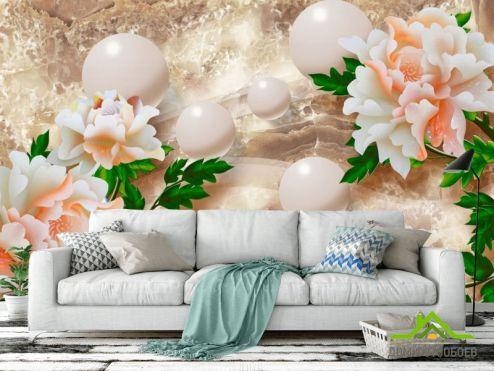 3Д  Фотообои Барельефные цветы