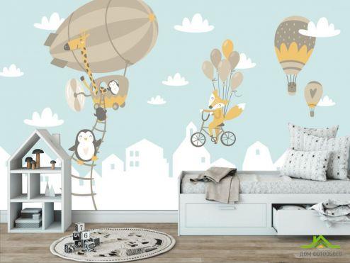 обои в детскую Фотообои Зверюшки на воздушных шарах