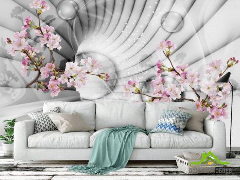 3Д  Фотообои 3д тоннель с цветами