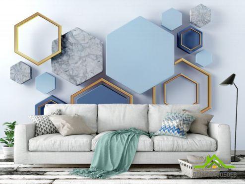 обои Геометрия Фотообои Синие шестиугольники