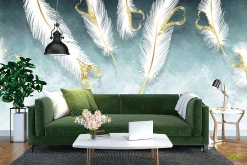 перья Фотообои Белые перья и золото