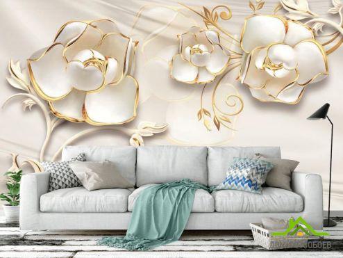 3Д обои Фотообои Белые цветы 3d