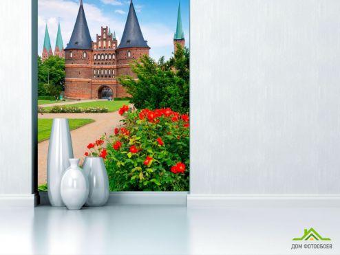 Зеленые обои Фотообои Минималистичный замок