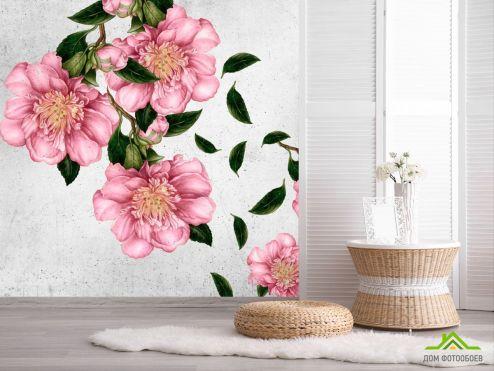 Эксклюзивные обои Фотообои Рисованные цветы на стене