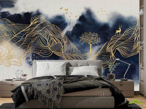 фотошпалери в спальню Фотошпалери сині гори з золотом