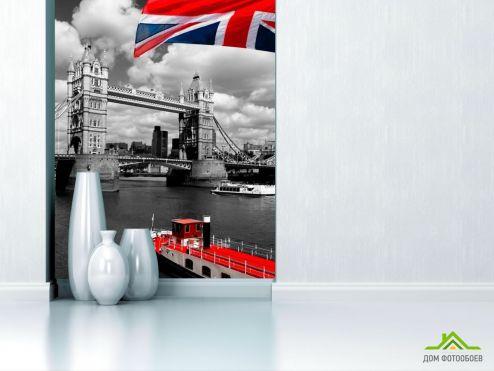 Серые обои Фотообои Лондон, флаг