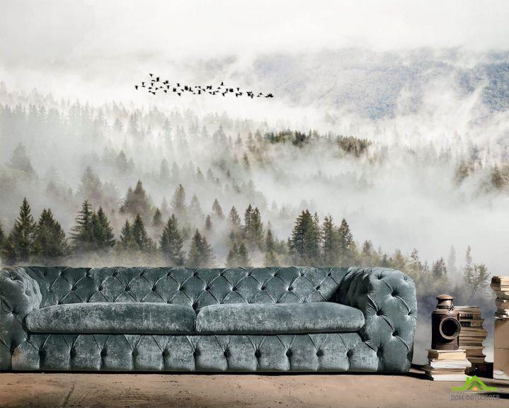 Фотообои Птицы над туманным лесом