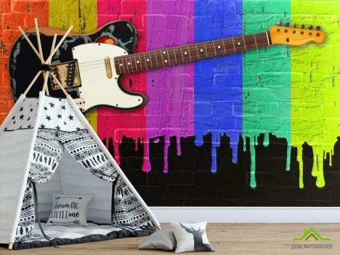 для подростка Фотообои Гитара на фоне красок