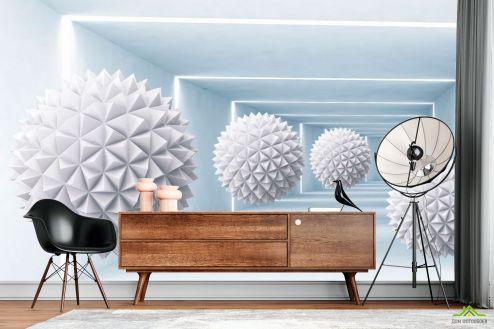 3Д  Фотообои Сферы в корридоре