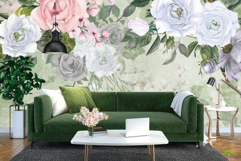 Фотообои Цветы по выгодной цене Фотообои Акварельные цветы на зелёном фоне