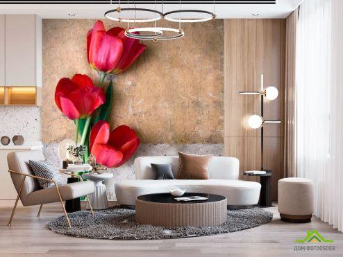 Тюльпаны Фотообои Три красных тюльпана купить