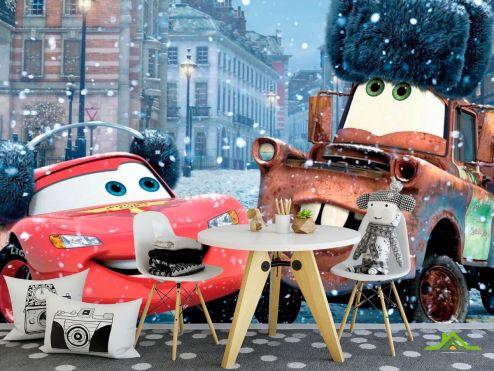 обои для малышей Фотообои Тачки, снег