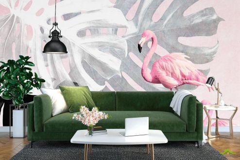 с Фламинго Фотообои Фламинго и Монстера