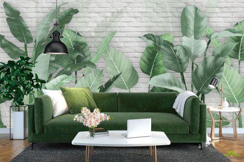тропические листья Фотообои Банановые листья на кирпичном фоне