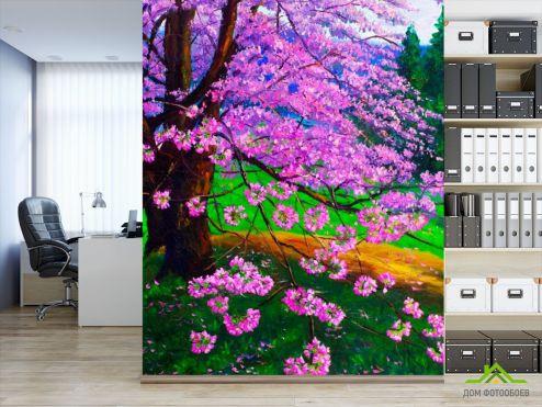 Розовые деревья Фотообои Цветущая сакура