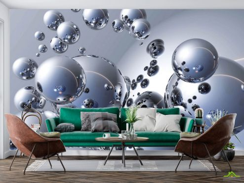 3Д  Фотообои Металлические шары 3д
