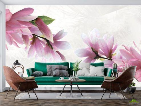 цветы 3d Фотообои Магнолия купить