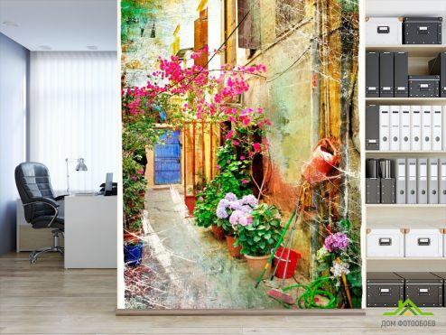 обои Улочка Фотообои Улочка с цветами