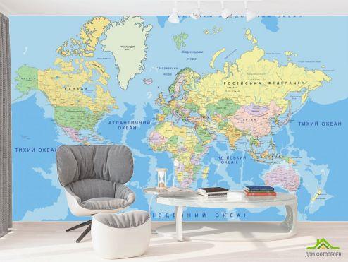 в офис Фотообои Карта на украинском