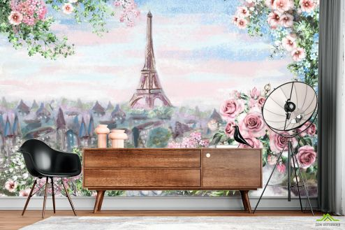 Иллюстрации Фотообои Романтичный Париж