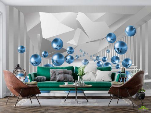 3D  расширяющие пространство Фотообои синие шары в воздухе перспектива купить