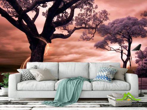 Розовые  Фотообои Цветущие деревья