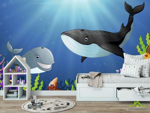 обои в детскую Фотообои Кит и дельфин