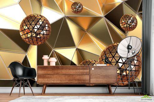 Фотообои Геометрия по выгодной цене Фотообои Золотые шары и полигон