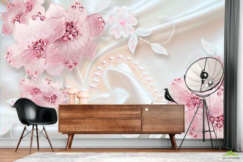 3Д  Фотообои Розовые цветы на атласе