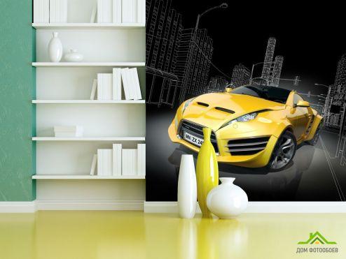 Фотообои Транспорт по выгодной цене Фотообои желтый автомобиль
