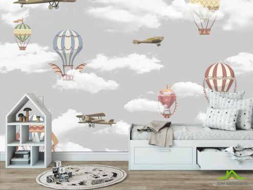Little kids Фотообои Самолётики и воздушные шары