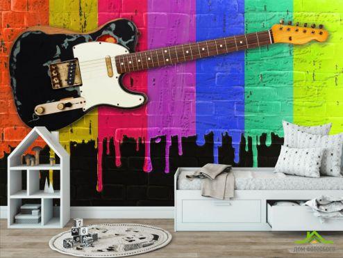 обои в детскую Фотообои Гитара на фоне красок