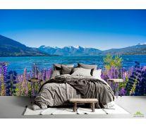 Фотообои горная лаванда на берегу озера