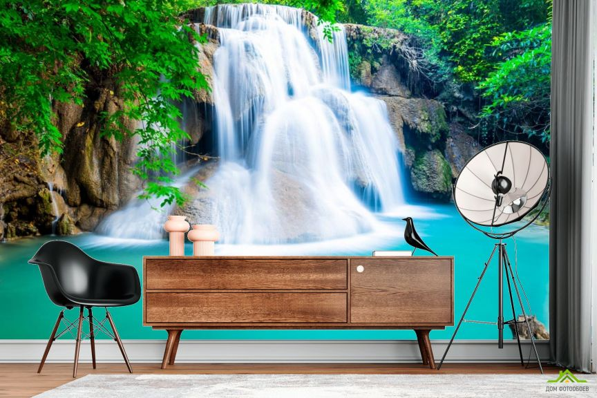 Фотообои водопад и бирюзовое озеро