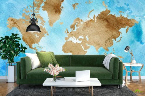 Фотообои карта Мира по выгодной цене Фотообои Акварельная карта