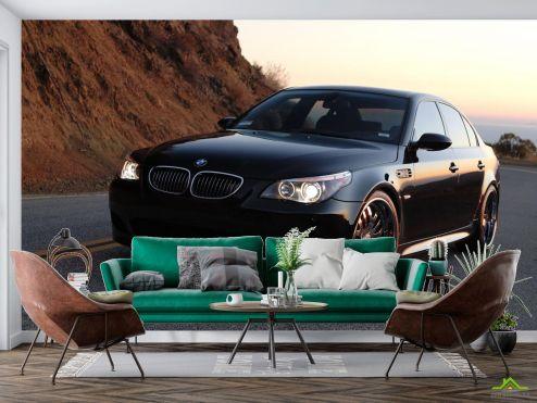 Фотообои Транспорт по выгодной цене Фотообои черный BMW в горах