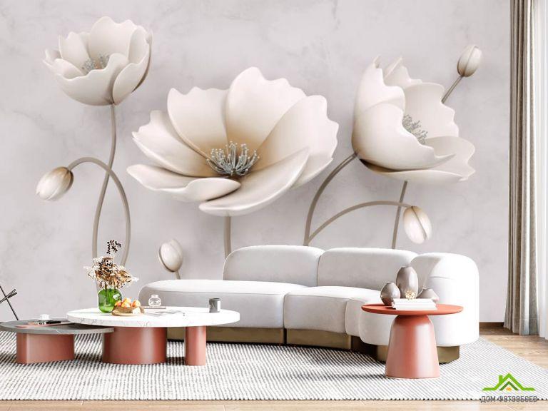 Фотообои Бежевые керамические цветы