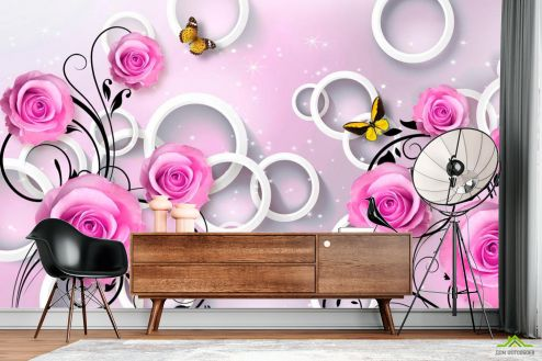Фиолетовые  Фотообои Розы сиреневые 3d