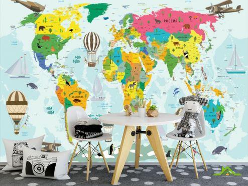 обои Развивающие карти Фотообои Карта в детскую