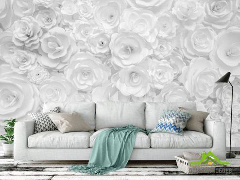 3Д  Фотообои Белая стена из бумажных цветов