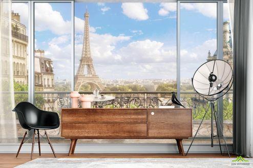 Фотообои Вид из окна по выгодной цене Фотообои Вид из окна на Париж
