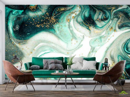 Фотообои Fluid art по выгодной цене Фотообои Зелёный флюид алкоинк