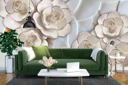 3Д  Фотообои Фарфоровые белые цветы купить