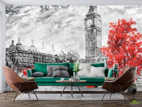 Лондон Фотообои Лондон красно-серая картина