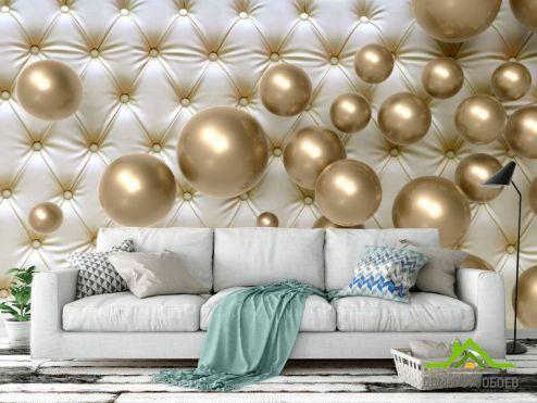 3Д обои Фотообои  Золотые шарики