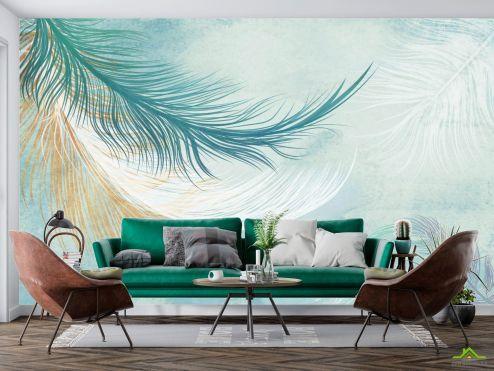 Фотообои перья по выгодной цене Фотообои Векторные перья голубые